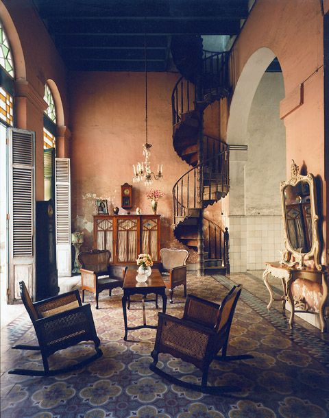 love those stairs: Spirals Staircases, Rocks Chairs, Spirals Stairs, Andrew Moore, Interiors, Basements Color, Coral Wall, Spiral Staircases, Cuba