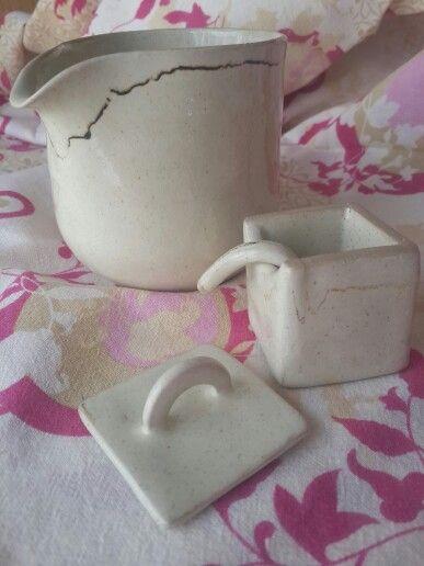 Milk jug and tiny salt box