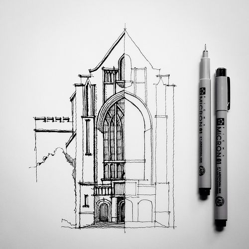 Half #sketch #drawing #architecture by Dan Hogman, via Flickr