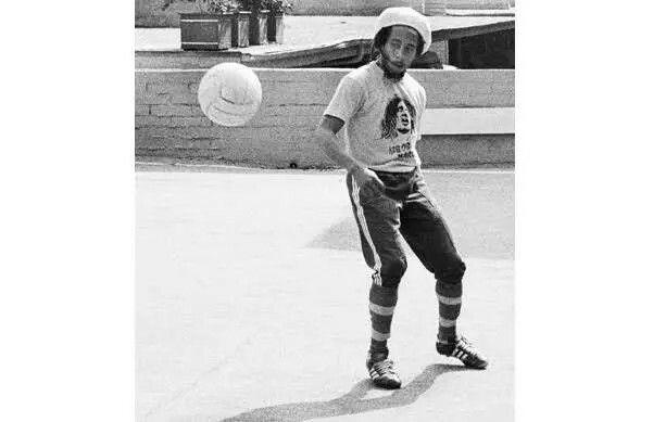 Bob Marley playing soccer, West Hollywood, 1975