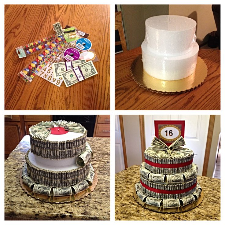 Money cake. I like the idea of using deli tubs for the forms so I can fill them with little trinkets.