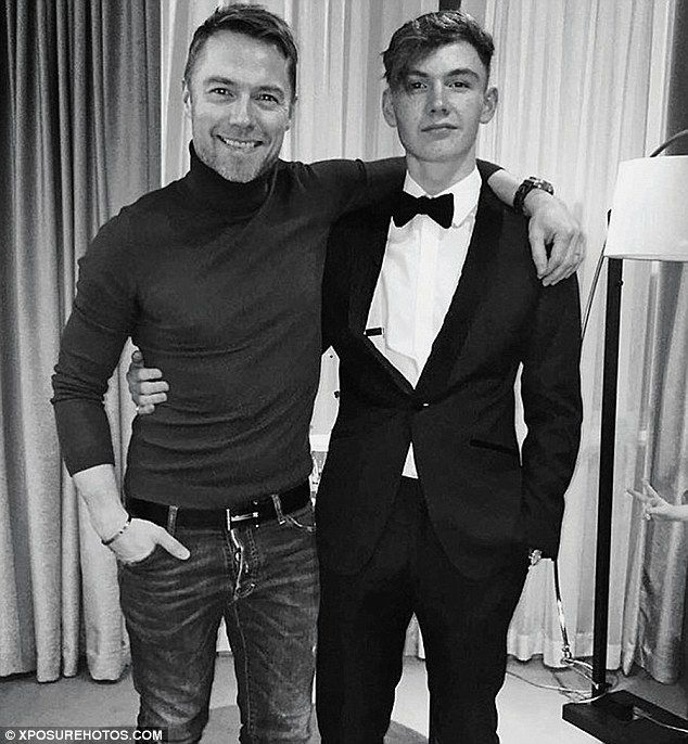 Ronan with his eldest son Jack who is 16 - exactly the same age Ronan was when he joined Boyzone