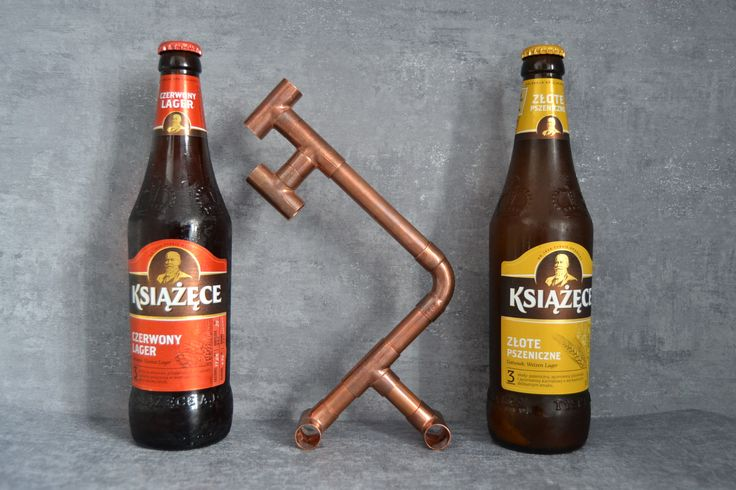 Industrial beer opener made of copper pipes & fittings.