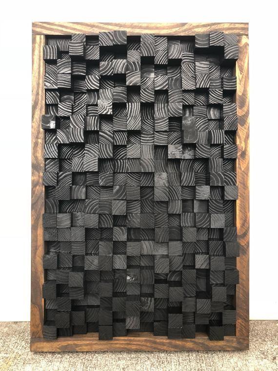 Altholz, Sound Diffusor, Akustisches Panel, SoundProofing, Proof, Pixel, Kunst, schwarze Holzkunst, 3D-Kunst, Holz behang Wand Kunst neues Studio