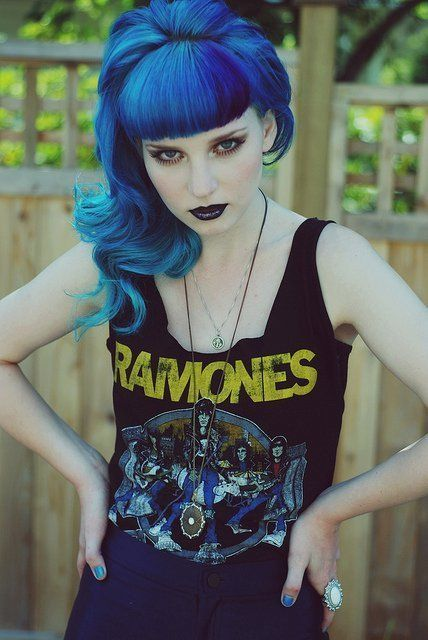 Blue Hair + Black Lips = Perfect Style Combo      #style #hair #bluehair #makeup #beauty