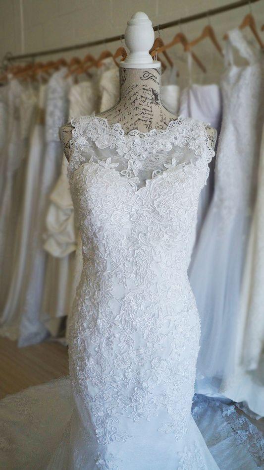 Elegant vintage boat neck lace wedding dress. Urban Bride Cape Town.