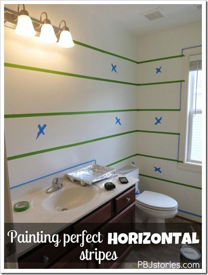 How to Paint Perfect Horizontal Stripes in your Home by PBJstories.com