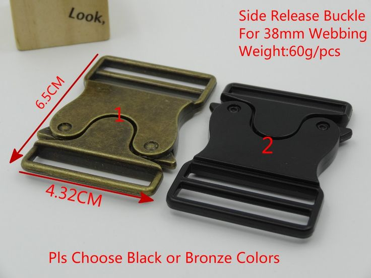 NEW 2Pcs bronze\black colors Quick Release Buckles Side Release Metal Strap Buckle For 38mm Webbing DIY Bags Clothes Accessories