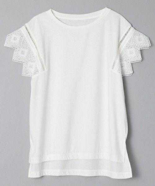 JEANASIS(ジーナシス)のソデレースプルオーバーSS/717771(Tシャツ/カットソー)|オフホワイト