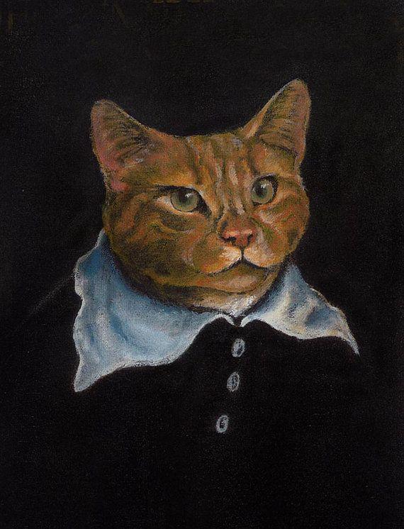 Stampa di gatto. Arte del gatto ritratto del di CuriousPortraits