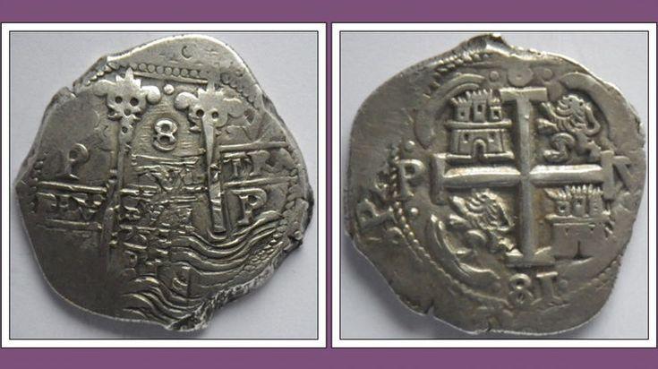 Silver Cob, 8 Reales 1681, Potosi, Bolivia