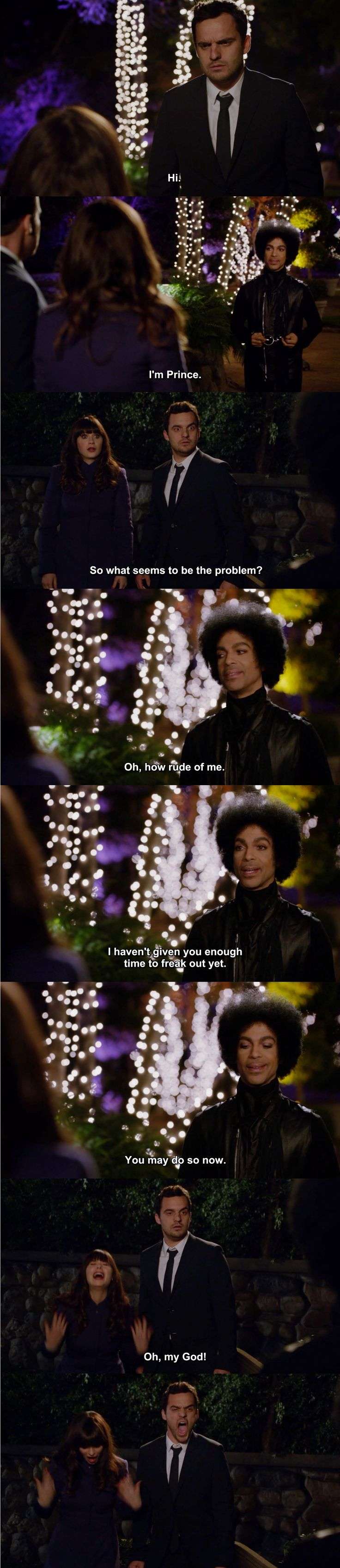 NEW GIRL, one of the best episodes ever. Prince guest stars. Prince!