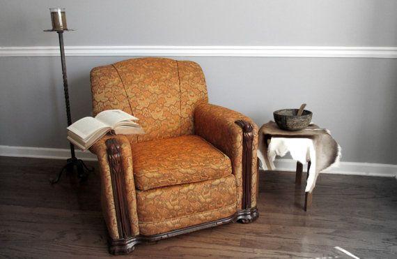 1930 S Art Deco Overstuffed Armchair Easy By
