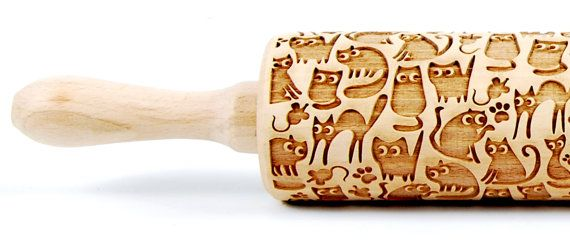 CATS No. 7  Embossing rolling pin Engraved rolling pin