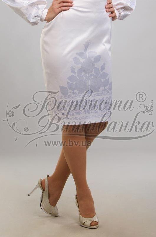 Атласная белая женская юбка СЖ-044Б Свадебные пары