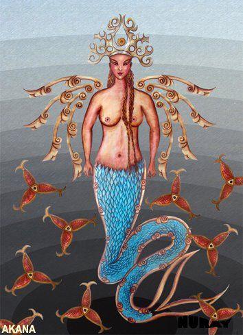 AK ANA Sonsuz sulardan çıkıp, Ülgen'e yaratma emrini veren ve tekrar sulara dönen tanrıça ak anadır. Altay Türklerinin inancına göre, ışıktan bir kadın hayali şeklindedir. Ülgen ilk yaratılış ilhamını Ak anadan alır ve dünyaya destek olması için üç tane de balık yaratır. Türk mitolojik görüşlerine göre Ak ana boynuzlu olarak betimlenir. Eski çağlarda Ana tanrıça heykelcikleri de boynuzlu olarak simgelenmiştir.