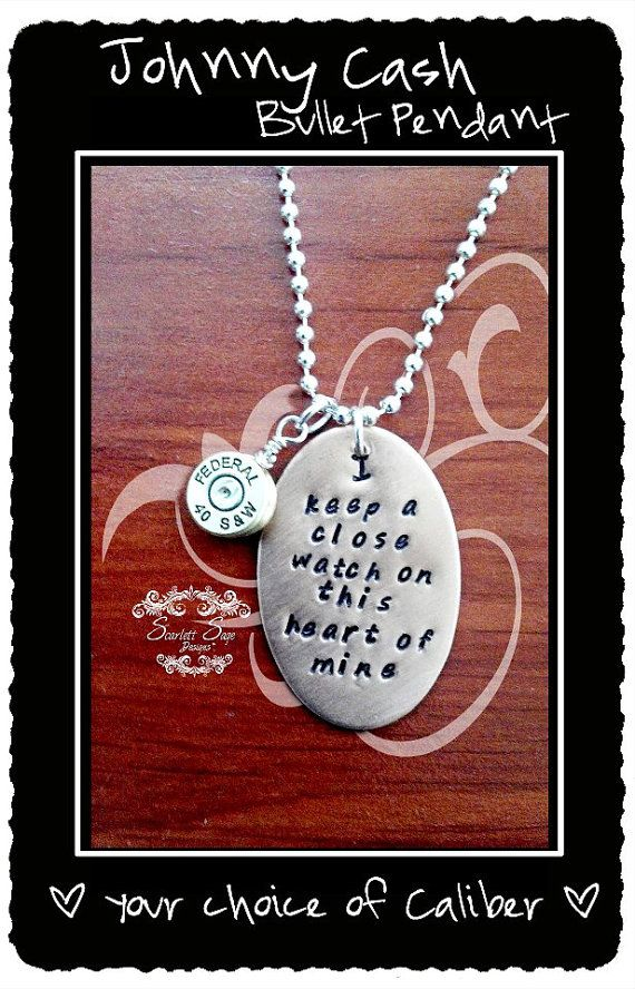 Johnny Cash Bullet Jewelry Pendant Unisex Necklace by ScarlettSage, $35.00