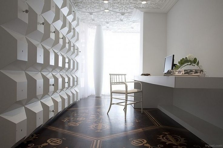 Apartment: Home Office With White Relief Walls Also Build In White Working Table And Chairs Also Wooden Floor With Floral Pattern Design Ide...