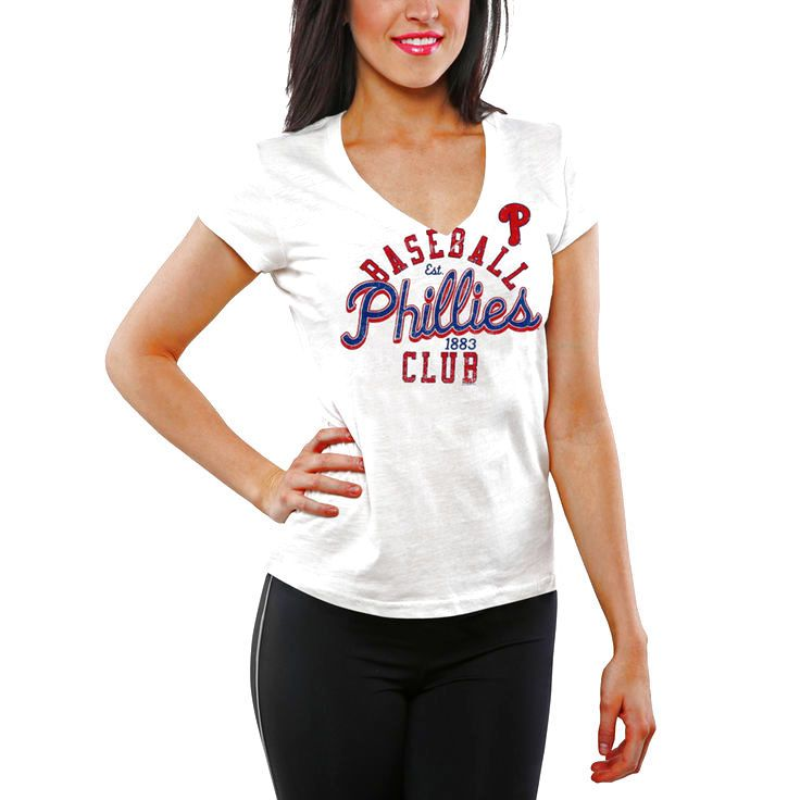 Philadelphia Phillies Women's Designated Hitter V-Neck Slim Fit T-Shirt - White - $11.39