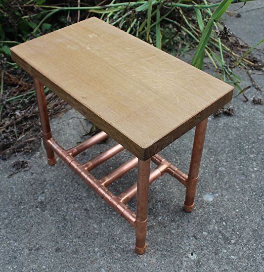 Live Edge Walnut & Copper Pipe Side Table/Stand With Two Shelves by Paul  Segedin
