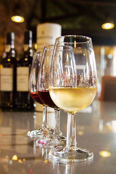 Set of glasses of white and ruby port wine by Anastasy Yarmolovich #AnastasyYarmolovichFineArtPhotography  #ArtForHome #Food #Drink