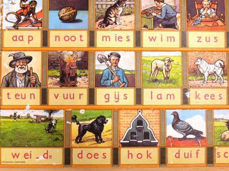 Aap, noot, Mies - staples for learning to write Dutch (back in the day)