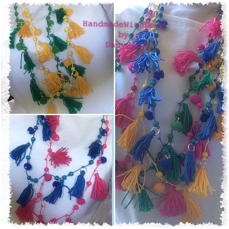 ono indecisa....vabbè le metto tutte!!! I'm confuse, let's wear them all! #handmadejewelry #handmadenecklace #handmadewithlove #danydan #danydan67 #tassel #pompom #pink #blue #yellow #green #wearthemall