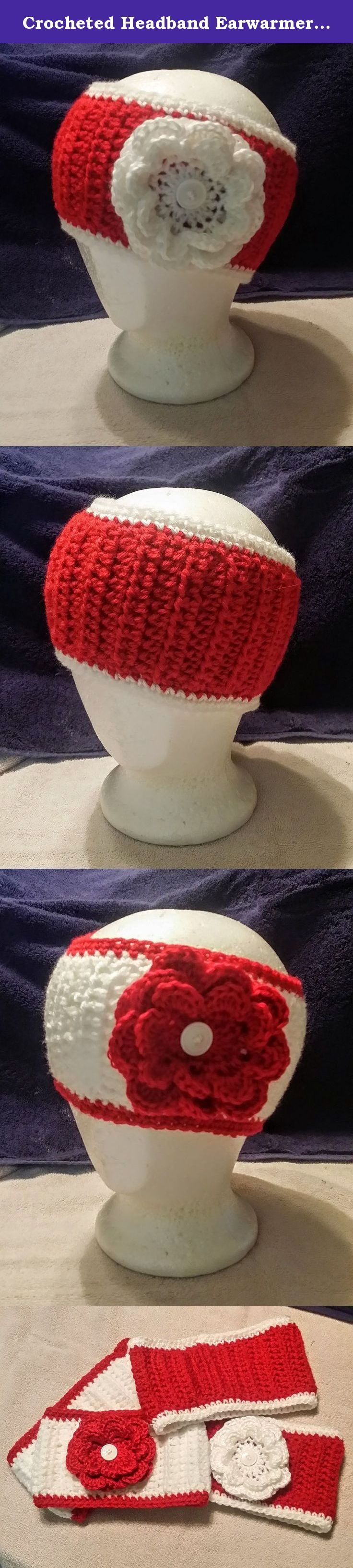 """Crocheted Headband Earwarmer, flower or plain, red and white (Wisconsin, Badgers, Nebraska, Cornhuskers, Stanford, Alabama, Crimson Tide, Arkansas,Razorbacks, Houston). Hand crocheted headbands will keep your ears warm in team style! For men or women. These headbands are a very generous 4-1/2"""" to 5"""" wide, nicely stretchy and very comfortable. Crafted from premium worsted-weight yarn, this quality fiber is soft and warm without being thick, bulky, or clunky. Combined with the ribbed stitch..."""