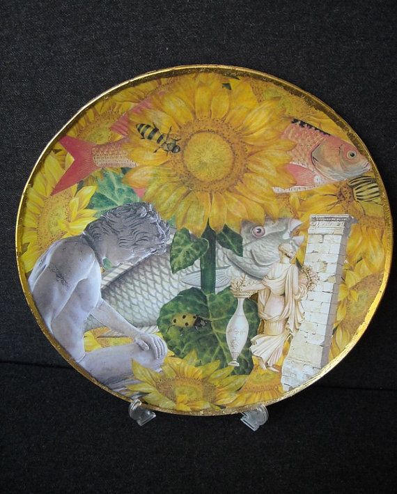 Round glass plate decorated with decoupage by ArtCollagebyFiona, $70.00