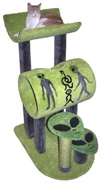 """Roswell Cradle Cat Tree  At 4' tall, this amazing sci-fi cat tree has a 14"""" diameter tube in front, a cozy 21-inch-long cradle in back and intricate carpet inlays on the tube bed. These inlays include 2 aliens in space suits and 2 alien symbols. The """"alien face"""" steps are inlaid, as well.  - Dimensions 48""""Hx24""""Wx34""""D  - Weight 51lbs  - Material Plywood, Solid Pine (Posts), 100% Nylon Carpet"""