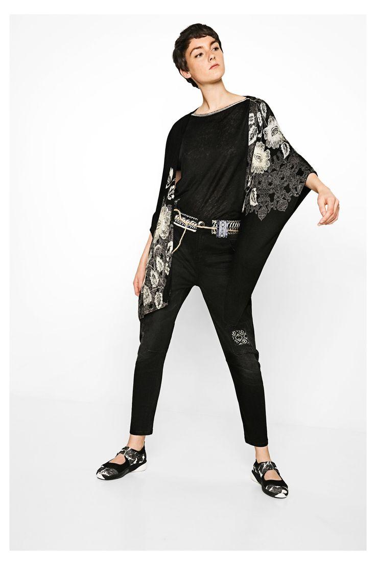 Cardigan nero lungo da donna Aless | Desigual.com