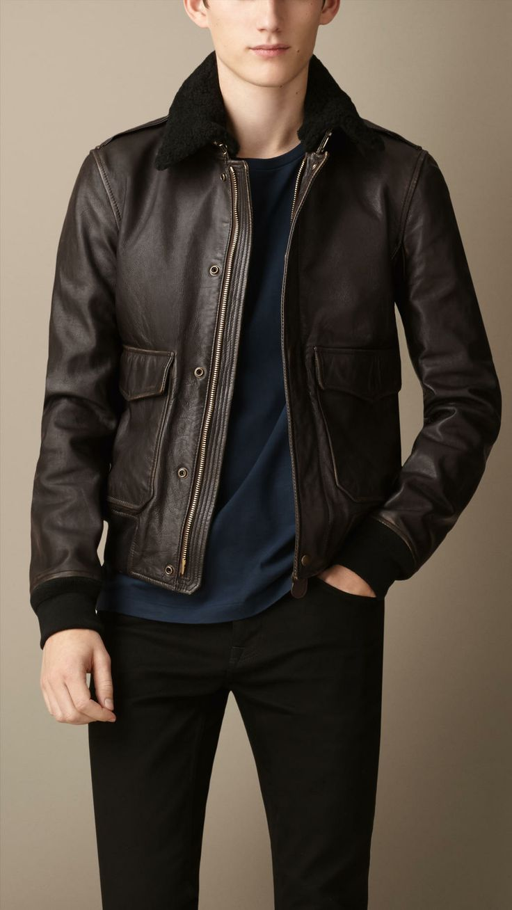 Burberry LEATHER AVIATOR JACKET WITH SHEARLING COLLAR