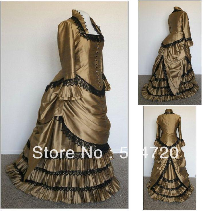 Vestido siglo 19 vestido de la vendimia de Brown Clásica Gothic Lolita / vestido de Halloween Guerra Civil vestido de belleza sureña victoriana Todo(China (Mainland))