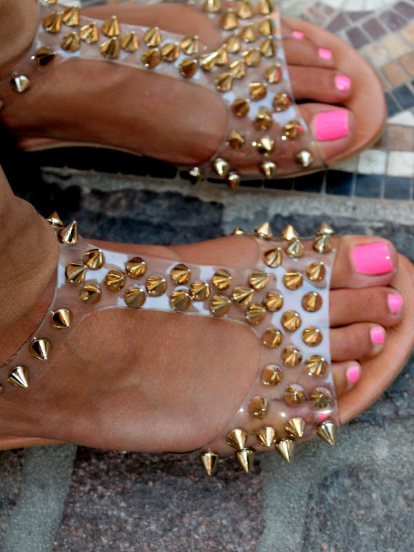 Gold studded clear sandals + pink neon nails + tanned skin. Hot! (Jeffrey Campbell 'Puffer' Sandals)