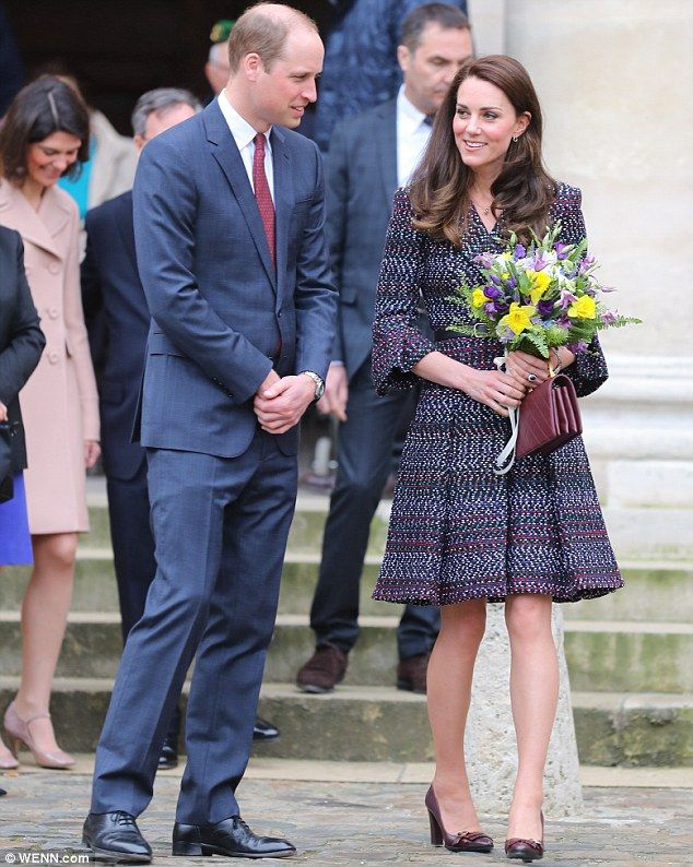 Business as usual:The Duke and Duchess of Cambridge are today going about their planned schedule in Paris despite a shooting at the city's Orly airport - March 18, 2017