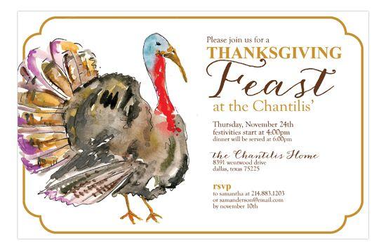 Double Rounded Turkey Invitation | Polka Dot Fall Party Invitations