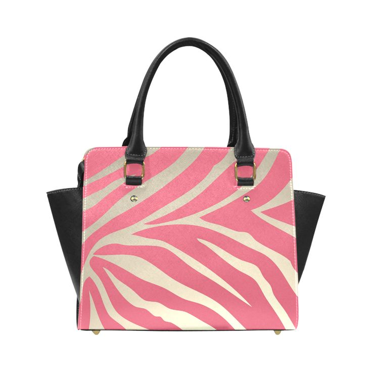 Pink Zebra Stripes Beige Background Classic Shoulder Handbag (Model 1653).This lovely and elegant design works great on your favorite Color Me Girly product! It will definitely make a statement with its bold zebra stripes and gorgeous color scheme. - pink, zebra, zebras, stripes, stripe, animal print, fur, wild, animal, animals, safari, jungle, feminine, trendy, chic, decorative, fashion, style, stylish, fashionista, luxury, pattern, design, girly