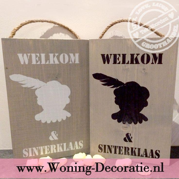 Steigerhouten bord Welkom Zwarte piet en Sinterklaas S521 | Steigerhouten tekstborden | Woning-Decoratie.nl