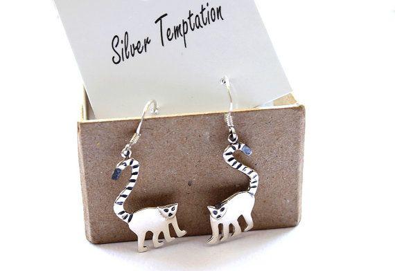 Lemur oorbellen. Aap oorbellen. De gift van Kerstmis. Ongewone sieraden. Zilveren aap oorbellen. Dierlijke sieraden. Aap sieraden. Jaar van de aap