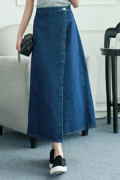 Chic High-Waisted Back Slit Pure Color Denim Skirt For Women #jewelry, #women, #men, #hats, #watches
