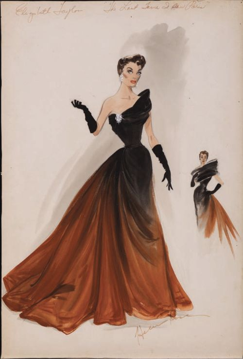 Costume design by Helen Rose for Elizabeth Taylor in The Last Time I Saw Paris (1954). From Profiles In History