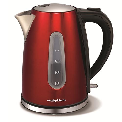 The metallic Red Accents Jug kettle from Morphy Richards. A simple but efficient appliance that helps you keep your kitchen surface neat and tidy, and make up to 6 hot drinks at a time faster, thanks to its 3kW concealed element.