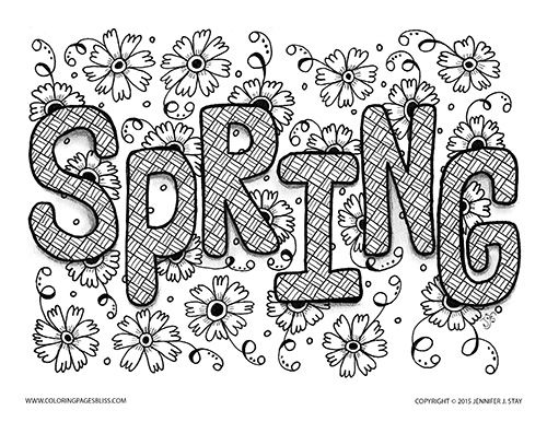 spring coloring page for adults hand drawn with charming flowers to color printable coloring - Spring Coloring Pages Free Printable