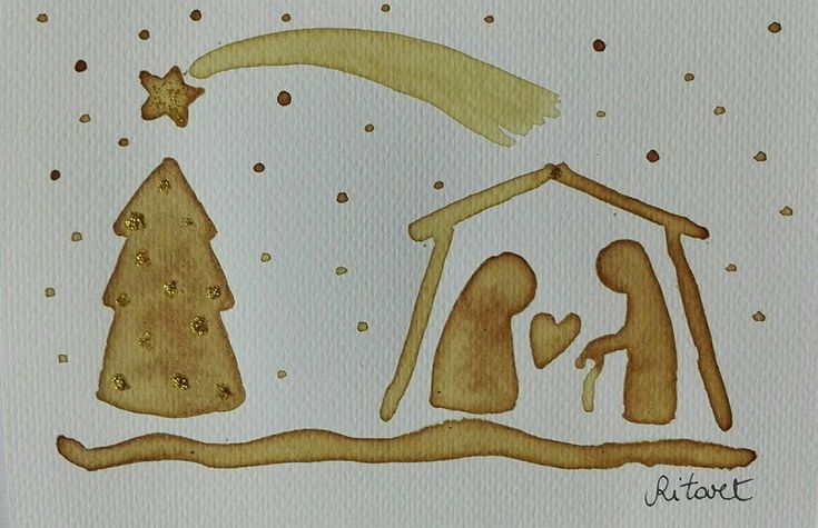Cartolina di Natale acquarellata al caffè