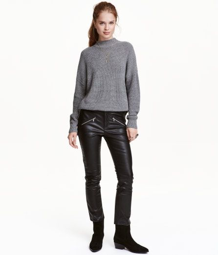 Check this out! Ankle-length imitation leather pants with decorative zips at front, regular waist with zip fly and button, back pockets, and slim legs. Soft, brushed inside. - Visit hm.com to see more.