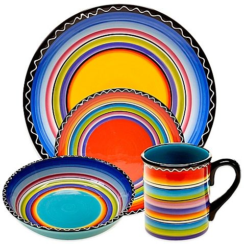 Vibrantly colored for an authentic look and feel, the Certified International Tequila Sunrise Dinnerware and Serveware bring a bold touch of Southwestern flair to your table. These pieces are crafted of durable ceramic and complement any occasion.