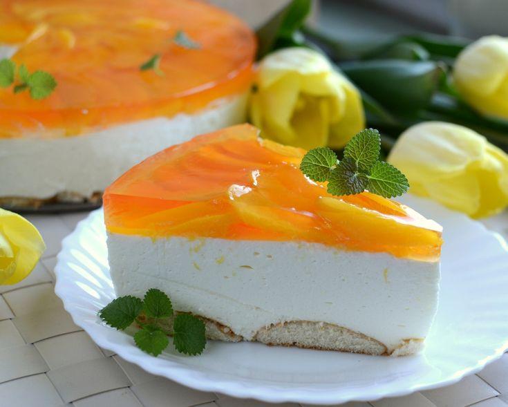 Peach Cheesecake  http://www.mlekoma.pl/przepisy/brzoskwiniowo-ananasowy-sernik-na-zimno/