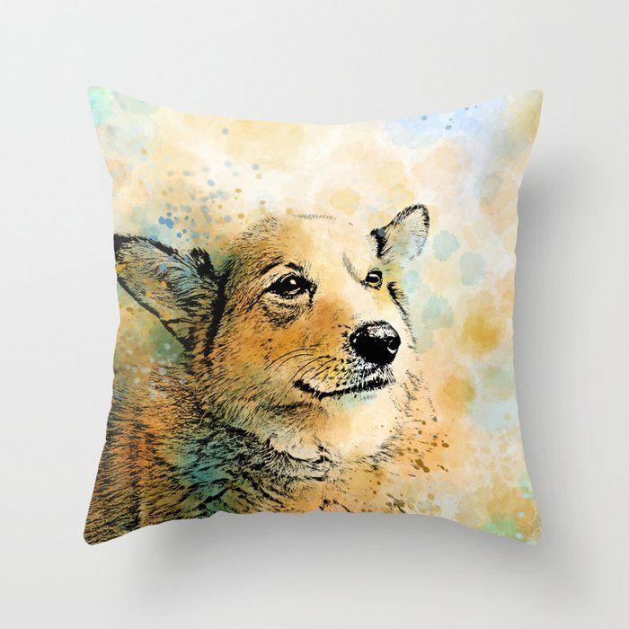 Corgi Throw Pillow Dog Cushion Case Pillow Cover Dog 143 Corgi Orange Blue Green Digitla Art By L Dumas By Artbylucie On Throw Pillows Dog Cushions Pillows