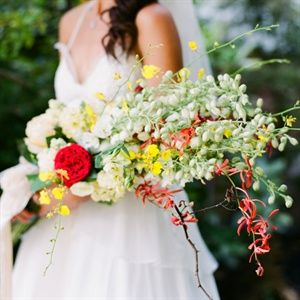 Wedding bouquet- Presentation Style Bouquet - red, white, and yellow flowers