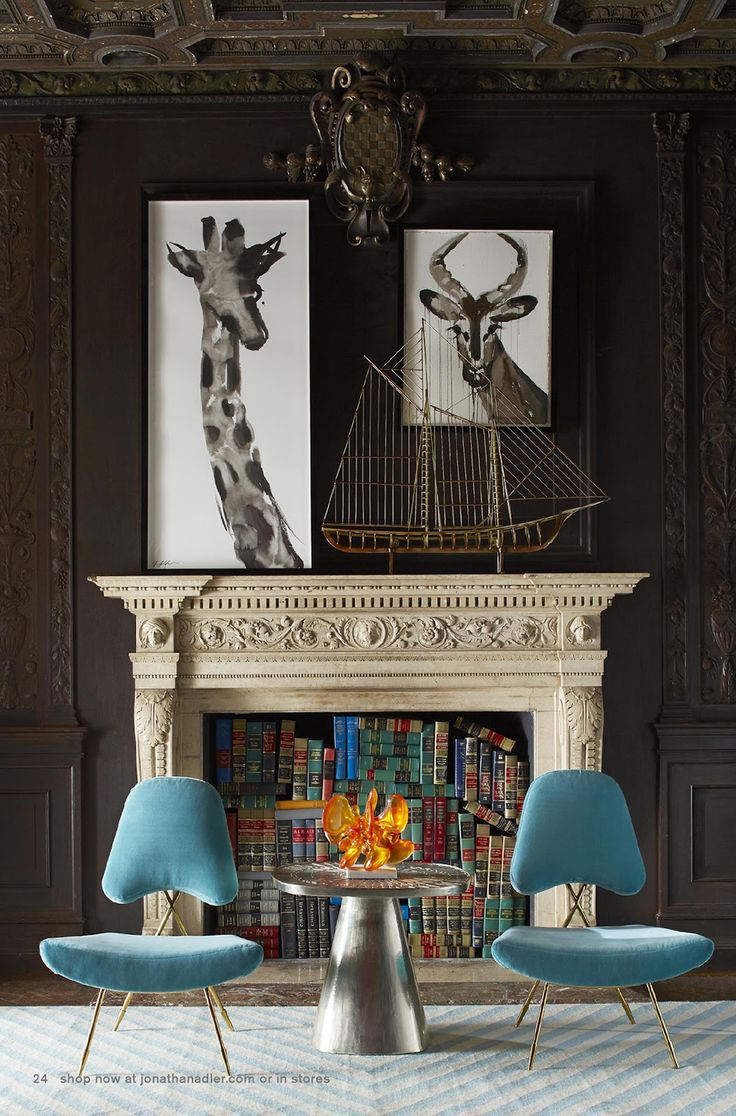I love the asymettrical matching art above the fireplace! - Jonathan Adler's Fall 2013 Catalog homedecor interiors